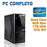 COMPUTER DESKTOP PC FISSOASSEMBLTO COMPLETO TOWER NUOVO INTEL QUAD CORE/4GB/1TB