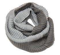Elegant Knitted Infinite Loop Scarf - One Size - Gray