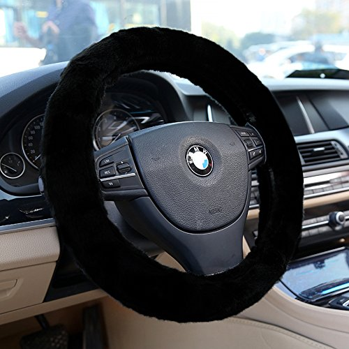 Zone Tech Plush Stretch- On Vehicle Steering Wheel Cover Classic Black Car Wheel Protector (Steering Wheel Cover Pattern compare prices)