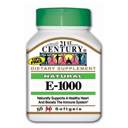 21St Century E 1000 I.U. Natural (D-Alpha) Softgels, 55-Count