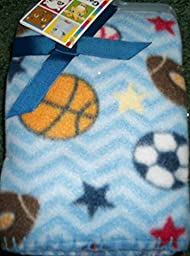 Basketball, Football, Soccerball,Baseball Star 30 x 40 Inch Soft Fleece Baby Blanket