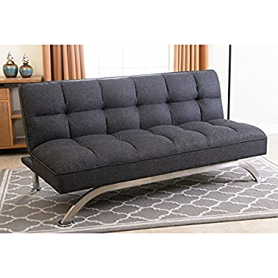Abbyson Living Bella Grey Linen Tufted Futon Sofa Be