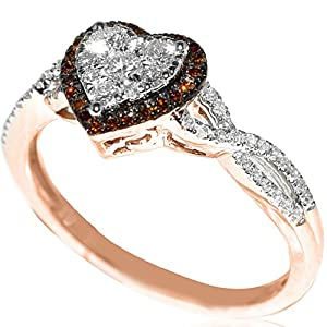 0.8ct Heart Shaped Diamond Ring Rose Gold Red and White Diamonds Engagement