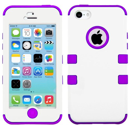 Mylife Violet Purple And White - Flat Color Series (Neo Hypergrip Flex Gel) 3 Piece Case For Iphone 5/5S (5G) 5Th Generation Smartphone By Apple (External 2 Piece Fitted On Hard Rubberized Plates + Internal Soft Silicone Easy Grip Bumper Gel)