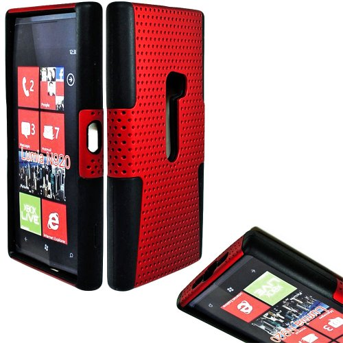 Mylife (Tm) Firewire Red + Black Perforated Mesh Series (2 Layer Neo Hybrid) Slim Armor Case For The Nokia Lumia 920, 920.2, 920T And 920 4G Camera Smartphone By Microsoft (External Rubberized Hard Shell Mesh Piece + Internal Soft Silicone Flexible Gel +