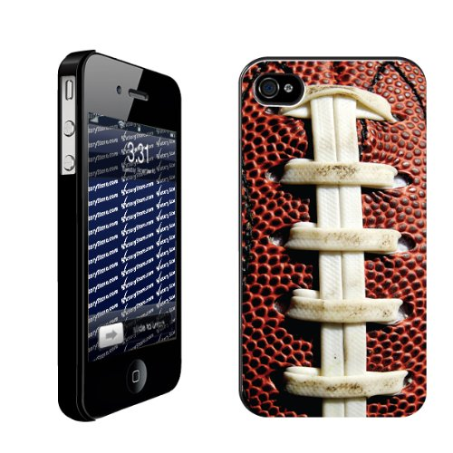 Football iPhone Design Football Laces   iPhone Hard Case   BLACK Protective iPhone 4/iPhone 4S Case