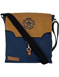 Unisex Messenger Bag Designed By Almolfa In Heavy 16 Oz Cotton Canvas -Biking Bag -Blue & Mustard -Star Printed...