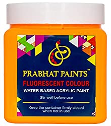 Prabhat Paints Acrylic Fluorescent Paint (500 g, Matt Orange Yellow,Glows only under UV Tube Light or UV bulb)(Water Based)