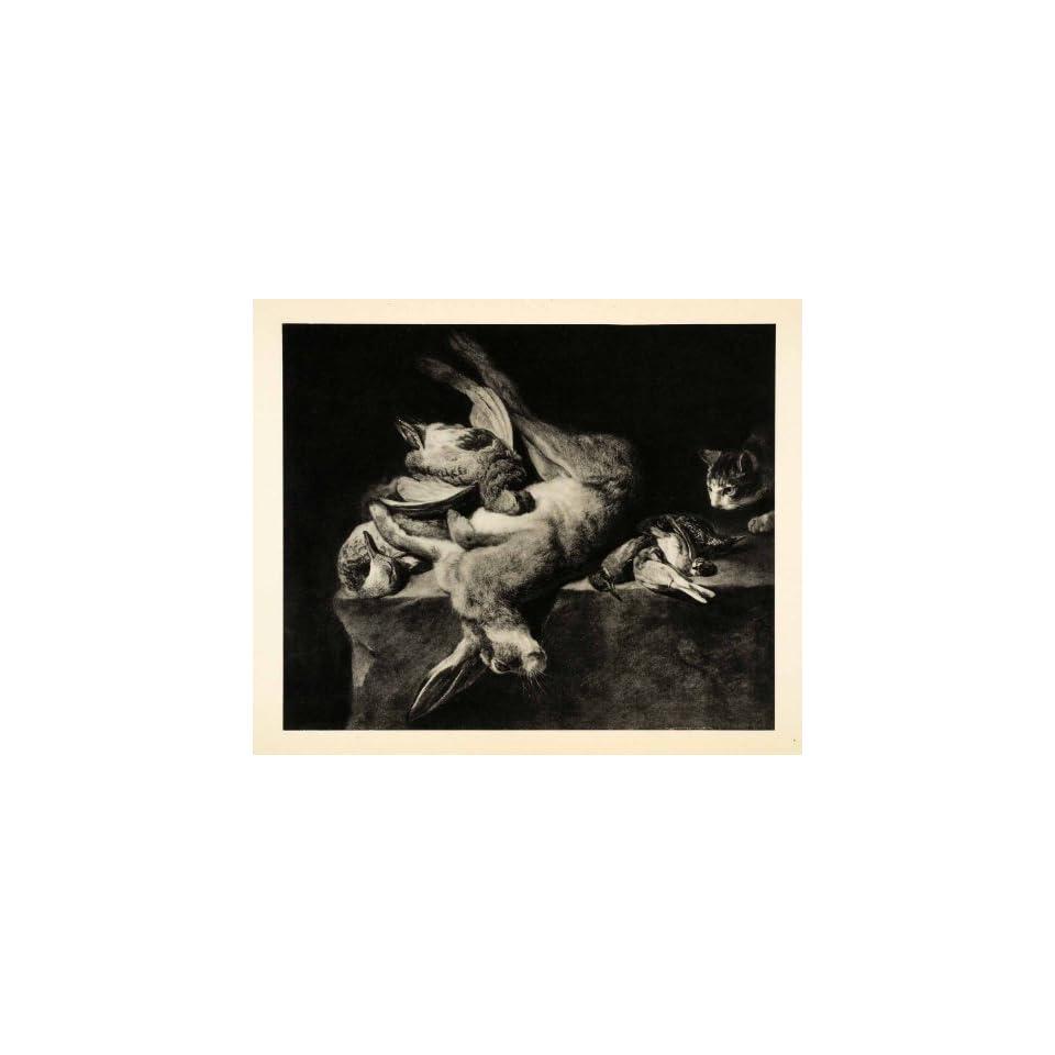 1939 Photogravure Pieter Boel Still Life Rabbit Cat Duck Bird Pheasant Hunt Art   Original Photogravure