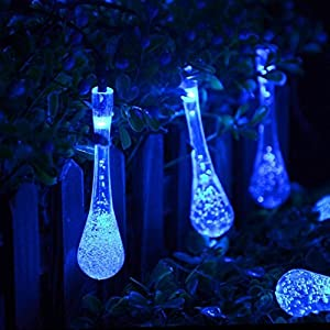 Agooding 30 LED Icicle Lights Solar Powered Raindrop Garden String Fairy Lights/ LED Waterproof Decorative Lights for Outdoor, Garden, Patio, Christmas, Xmas Tree, Holiday Party by Agooding