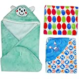 BRANDONN Hooded Blanket Cum Wrapping Sheet For Babies (Set Of 3, COMBO4)
