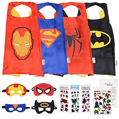 Super Kiddos Superhero Cape and Mask Costumes for Kids Set-Capes, Masks Stickers and Tattoos (Tony Stark Halloween Costume)
