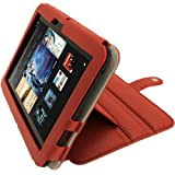 IGadgitz Red 'Guardian Tri-view' PU Leather Case Cover for Amazon Kindle Fire HD 7