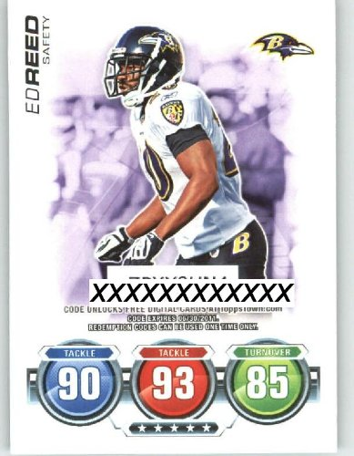 2010 Topps ToppsTown / Attax Code Card #33 Ed Reed - Baltimore Ravens (NNO / Topps Town) (Football Cards)