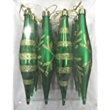 Queens Of Christmas WL-FIN-12PK-SFLN-GR Decorative Finial Ornament With Snowflake And Line Glitter Design, Green