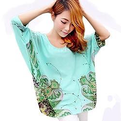 Fashion Summer Casual Womens Bohemian Printing Loose Bat Sleeve Chiffon Shirt Plus Size Blouse Top