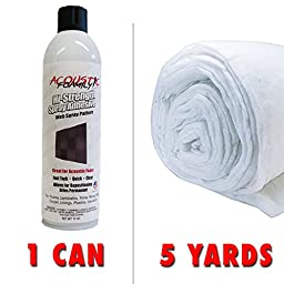 12oz MultiPurpose Foam / Fabric Spray Adhesive Aerosol Can and 5 Yards Dacron Upholstery Grade Batting Bonded Polyester Per Yard (5 Yards Dacron / 1 Can)ƒ
