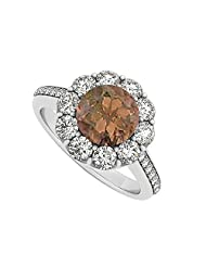 925 Sterling Silver June Birthstone Smoky Quartz And Cubic Zirconia Halo Engagement Ring