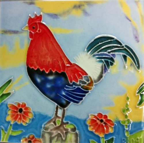 Continental Art Center SD-030 4 by 4-Inch Rooster No.4 Ceramic Art Tile