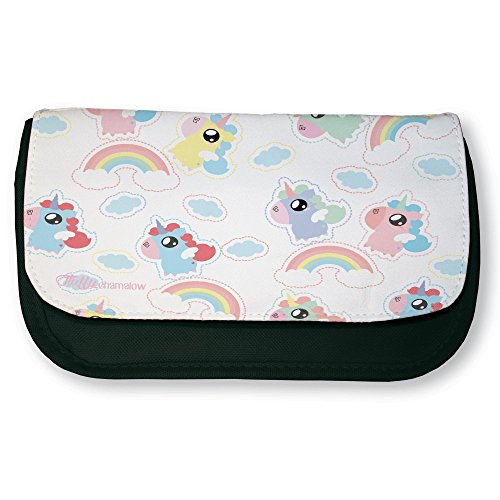 Trousse-noire-de-maquillage-ou-dcole-Rainbow-unicorn-Licornes-arc-en-ciel-Chibi-et-Kawaii-by-Fluffy-chamalow-Fabriqu-en-France-Licence-officielle-Chamalow-shop