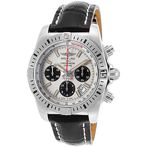 Breitling Men's Black Crocodile Leather Band Steel Case Automatic White Dial Analog Watch AB01154G-G786LS