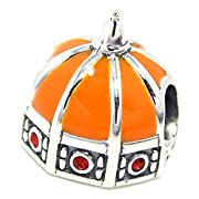 925 Sterling Silver Florence Cathedral w/ Orange Enamel & Red CZ Charm Bead 384