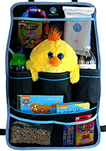 Logiclux Backseat Car Organizer - Quality Durable Material - Attach to Headrest - Fits All Vehicles & Automobiles - Best for Storing and Organizing Family and Kids Toys - Great Gift for New Mothers - 100% Lifetime Satisfaction Guarantee!