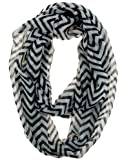 Cotton Cantina Soft Chevron Sheer Infinity Scarf (Black/White)