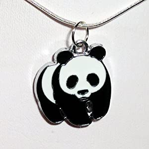 """Panda Pendant Necklace #CZP-13 - with 18"""" Silver Plated Necklace"""