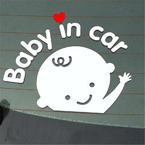 1 Pcs Imposing Modern Baby In Car Sticker Sign Auto Waving Decal Safety Symbol Truck Decor Boy Style Colors White