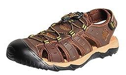 iLoveSIA Men\'s Leather Walking Sandals Dark Brown US Size 11