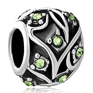 Pugster Peridot Green Crystal Black Leaf Pattern European Beads Fits Pandora Charm Bracelet