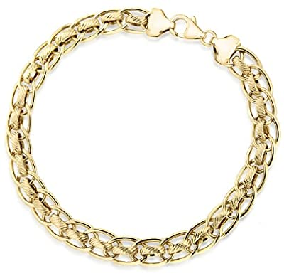 Carissima 9ct Yellow Gold Diamond Cut Rollerball Bracelet 19cm/7.5""