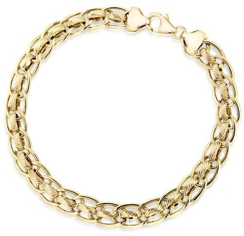 9ct Yellow Gold Diamond Cut Rollerball Bracelet 19cm/7.5