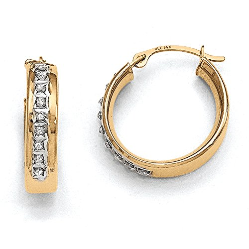 Diamond Hoop Earrings In Yellow Gold - 14Kt - Round - Hinge W/ Notched - Shapely