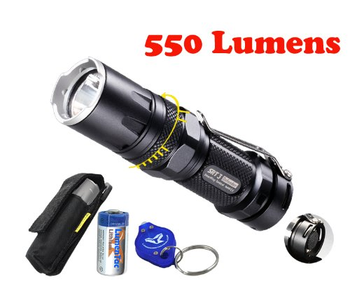 Nitecore Srt3 Grey 550 Lumens Defender Smartring Compact Led Flashlight With Free Battery, Holster & Keychain Light