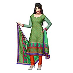 Green and Red Silk Kota Unstitched Dress