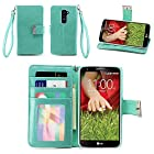 IZENGATE Executive Premium PU Leather Wallet Flip Case Cover Folio Stand for LG G2 (Sprint & T-Mobile Only) (Mint)