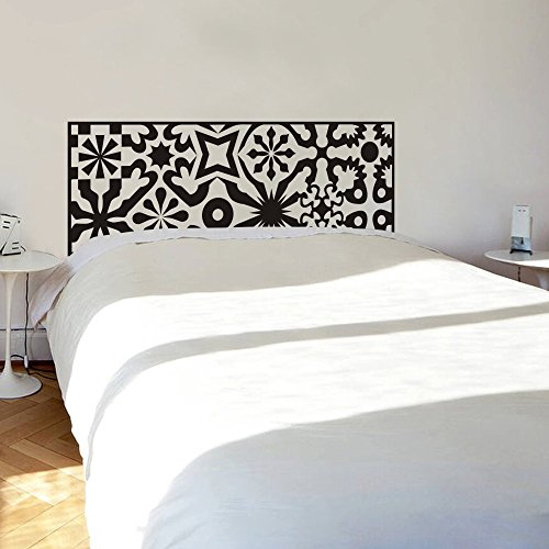 Headboard Wall Decal Geometric Headboard Decor Abstract Headboard Wall Sticker Wall Graphic Vinyl Bedroom Wall Art Decor Black front-17604