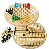Toys of Wood Oxford damas chinas y Gobang (cinco en fila) de madera 2 en 1 juego de mesa