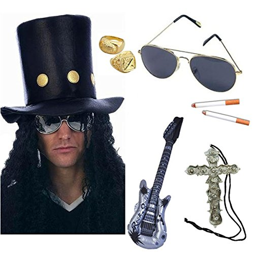 80s Heavy Metal Rocker Kit, Hat with Wig, Sunglasses, Cigarettes, Guitar