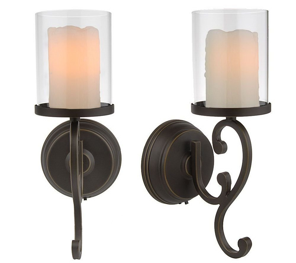 Candle impressions flameless candle wall sconces w timer and batteries ebay - Battery operated wall light sconces ...