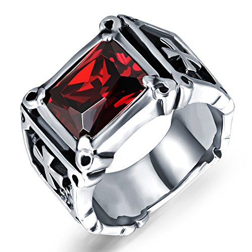 Men Women Stainless Steel Cushion Cut Red Cubic Zirconia CZ Ruby Silver Cross Ring Punk Black Biker Band Size 10 (Mens Stainless Steel Ruby Ring compare prices)