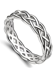 925 Sterling Silver Celtic Knot Ring Woven Trinity Design Engagement Wedding Band 4mm Size 4 - 11
