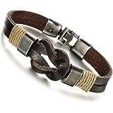 Jstyle Jewelry Men Leather Bracelet Brown Handmade Bracelets Rope