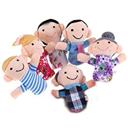 [Best price] Novelty & Gag Toys - Family Finger Puppets - People Includes Mom, Dad, Grandpa, Grandma, Brother, Sister - toys-games