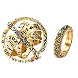 Astronomical Sphere Ball Ring,Cosmic Finger Ring Couple Lover Foldable Ring That Folds Out to an Astronomical Sphere Ring Lover Jewelry Gifts (Gold, 8) (Color: Gold, Tamaño: 8)