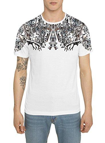 T Shirts Mode Homme Blanc, Fashion Rock, Tee Shirt Imprimé avec un motif Graffiti Tatouage - UNTRACEABLE - Col Rond, Coton, Manche Courte, Tops Designer Cool, Cadeau Original pour Hommes S M L XL XXL