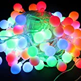 Minger Indoor Outdoor Led Ball String Light 33ft 100 Leds Starry String Lights with 8 Lighting Modes for Christmas Tree - New Year - Wedding - Birthday Party - Homes(Multi-colored)