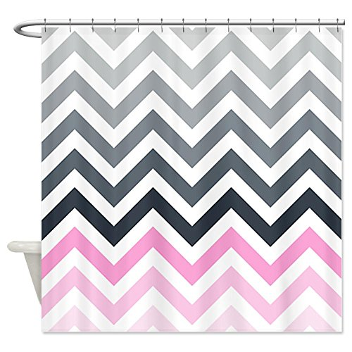 Grey and pink chevrons pattern2 Shower Curtain